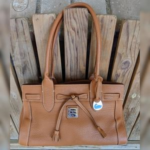Dooney & Bourke Tan Pebbled E/W Tassle Tote